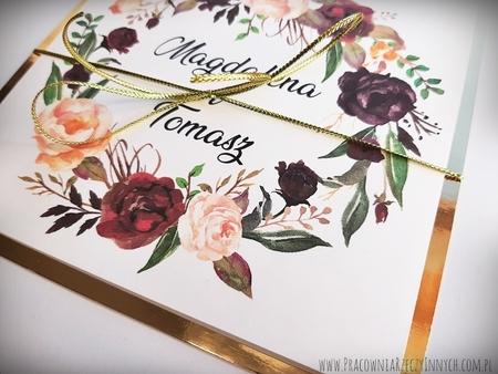 Złote lub srebrne zaproszenie z kwiatami (18)