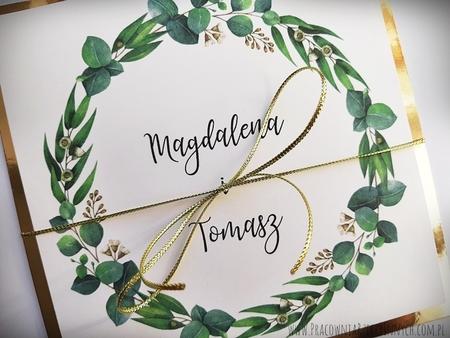 Złote lub srebrne zaproszenie z kwiatami (19)