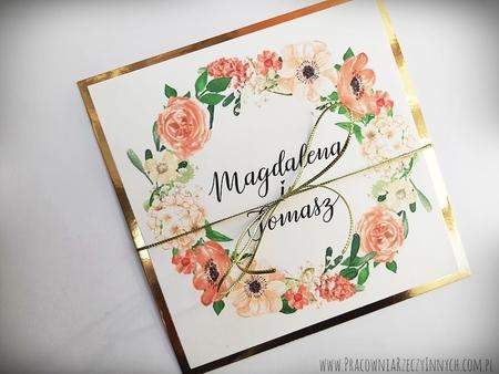 Złote lub srebrne zaproszenie z kwiatami (4)