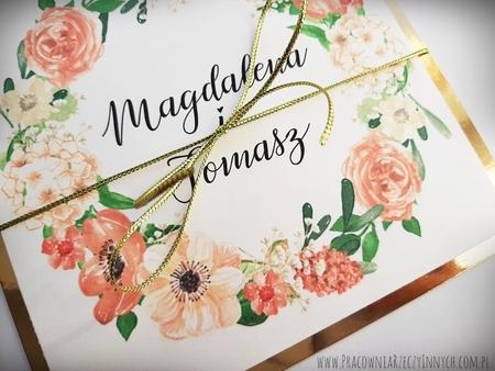 Złote lub srebrne zaproszenie z kwiatami (21)