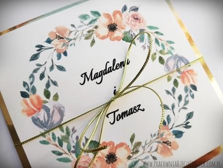 Złote lub srebrne zaproszenie z kwiatami (22)