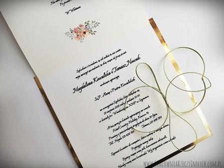 Złote lub srebrne zaproszenie z kwiatami (23)