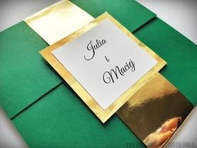 Kopertowe zaproszenia ze złotą/srebrną opaską i wkładką RSVP