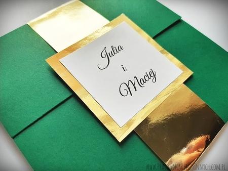 Kopertowe zaproszenia ze złotą/srebrną opaską i wkładką RSVP (1)