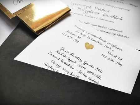 Kopertowe zaproszenia ze złotą/srebrną opaską i wkładką RSVP (7)
