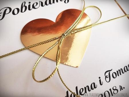 Złote lub srebrne zaproszenie z sercem (8)