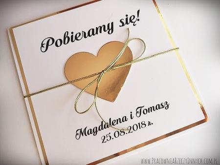 Złote lub srebrne zaproszenie z sercem (9)