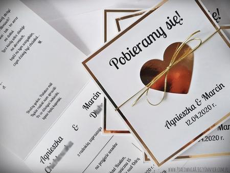 Złote lub srebrne zaproszenie z sercem (13)
