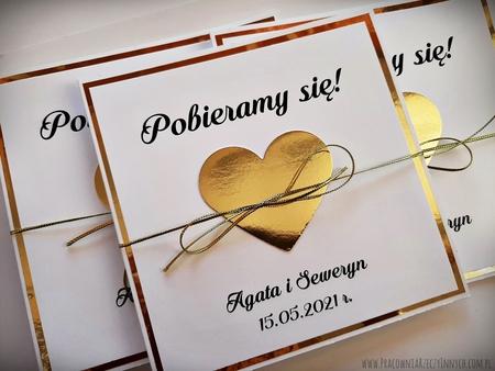 Złote lub srebrne zaproszenie z sercem (21)