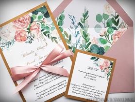 Kwiatowe zaproszenia z kolorową kopertą