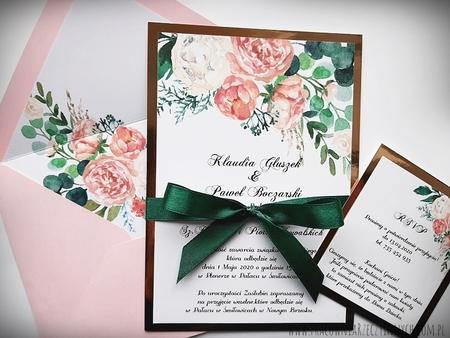 Kwiatowe zaproszenia z kolorową kopertą (2)