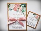 Kwiatowe zaproszenia z kolorową kopertą (4)