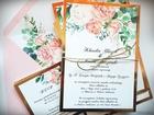 Kwiatowe zaproszenia z kolorową kopertą (5)