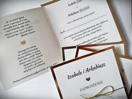 Klasyczne zaproszenia w kolorze złotym lub srebrnym (17)