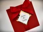 Kolorowe zaproszenie ze złotem lub srebrem i kokardą (3)
