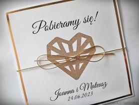 Zaproszenie Glamour z sercem geometrycznym