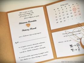 Rustykalne zaproszenia folderowe z kalendarzem