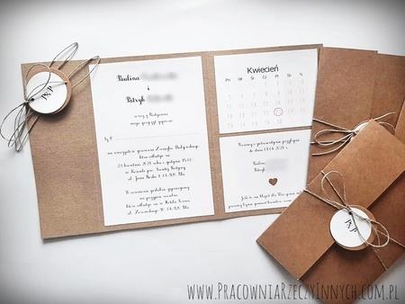 Rustykalne zaproszenia folderowe z kalendarzem (8)
