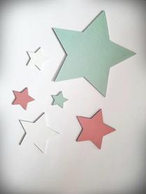 Komplet gwiazdek drewnianych na ścianę