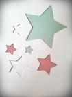 Komplet gwiazdek drewnianych na ścianę (1)