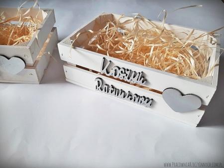 Koszyk ratunkowy biały malowany - drewniana skrzynka (5)