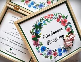 Zaproszenie/Podziękowanie/Prośba o błogosławieństwo w drewnianym pudełku